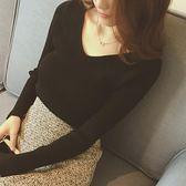 【優選】修身套頭毛衣女v領上衣長袖針織打底衫女