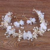 韓式森女新娘頭飾飾品髮箍滿天星干花蜻蜓花環婚紗配飾結婚髮飾仙 薔薇時尚