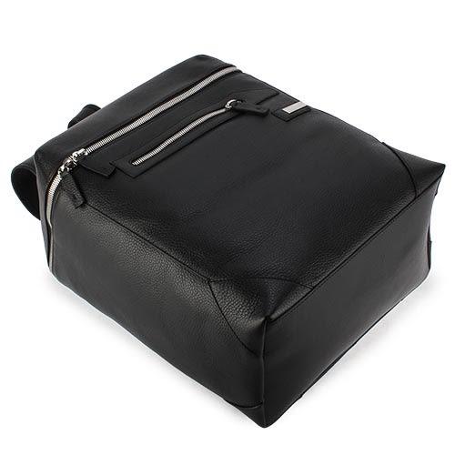 ARMANI COLLEZIONI 荔枝紋皮革鐵牌LOGO後背包(黑色)102305