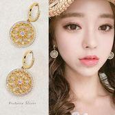 925純銀針  韓國優雅氣質 金色花圈 耳環-維多利亞181039