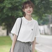 polo衫 2021新款寬鬆百搭ins學生短袖白T恤蕾絲勾花polo領上衣女夏