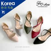 包鞋.微甜細絨曲線挖空金跟包鞋(杏、酒紅)-FM時尚美鞋-韓國精選.firefly