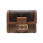 【台中米蘭站】全新品 Louis Vuitton DAUPHINE 帆布撞色釦式短夾(M68725-咖)