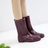 日式雨鞋女中筒雨靴時尚款水靴水晶防水工作膠鞋外穿防滑水鞋套鞋 漾美眉韓衣