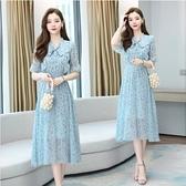 洋裝短袖甜美裙子S-2XL新款可鹽可甜雪紡連身裙淡藍色的淺色碎花長裙仙H325-9231.皇潮天下