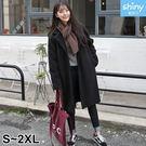【V9095】shiny藍格子-暖冬呈現.冬季時尚中長款厚實毛呢外套