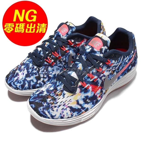 【US6-NG出清】Nike 慢跑鞋 Wmns Lunartempo 2 Jungle Pack LOGO瑕疵 藍 紅 白 女鞋 運動鞋【ACS】