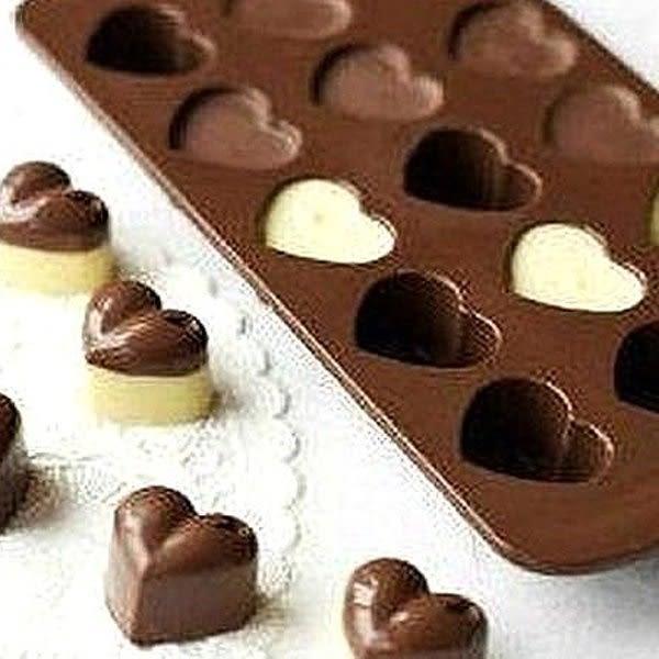 【BlueCat】咖啡色愛心造型巧克力果凍矽膠模具 製冰盒 (15格)