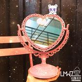 復古宮廷風愛心桌面台式化妝鏡心形旋轉鏡子 情人節禮物