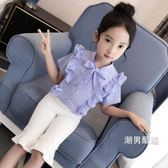 一件免運-短袖襯衫女童格子襯衫中大童短袖棉質上衣荷葉邊2018新品童裝洋氣兒童襯衣