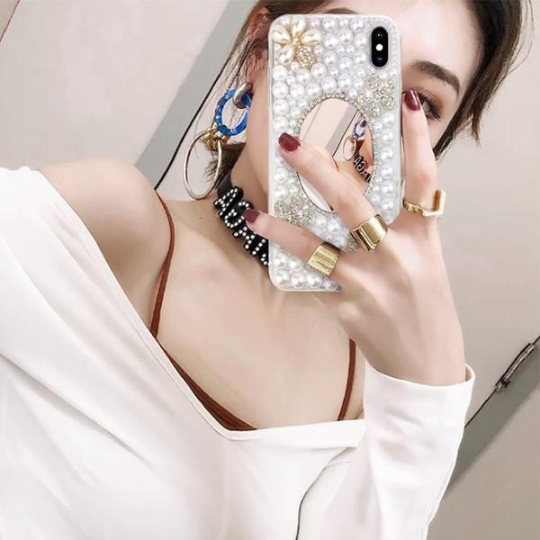 蘋果X手機殼xsmax珍珠8plus補妝鏡子iphonexr硅膠6s水鉆6splus全包透明邊iPhone7花朵8x鏡面7