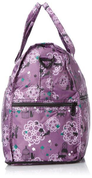 HAPI+TAS 摺疊小旅行袋 - 紫色貓咪蕾絲