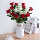 假花仿真花 防真玫瑰花客廳裝飾仿真花餐桌單支花束假花干花擺件塑料插花擺設 優拓