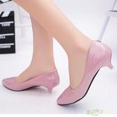 低跟鞋 小跟鞋女單鞋淺口春季新款3cm高跟鞋尖頭矮跟低跟黑色工作鞋  快速出貨