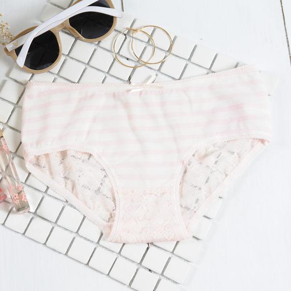 內褲 透氣蕾絲條紋棉質低腰 三角褲-淺粉-F-波曼妮亞