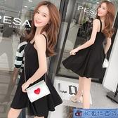 大碼細肩帶洋裝 黑色吊帶裙胖mm2021夏季短裙女裝性感顯瘦連身裙 小黑裙 3C數位百貨