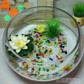 小型水族箱辦公室桌面創意圓形玻璃小魚缸大號烏龜缸迷你金魚缸igo