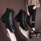 切爾西短靴 2020秋款女鞋小跟短靴子切爾西靴方頭裸靴女百搭粗跟網紅馬丁靴女