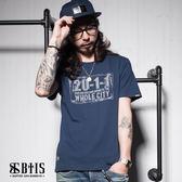 【BTIS】復古車牌 圓領T-shirt / 丈青色