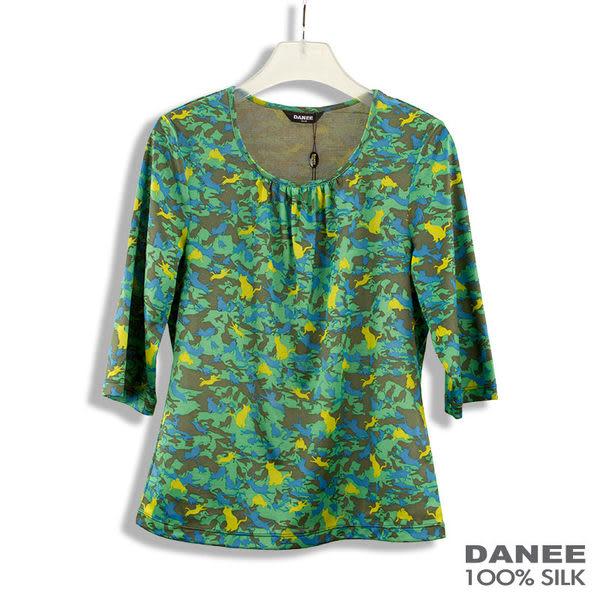 【岱妮蠶絲】草原貓咪 抓皺圓領七分袖蠶絲上衣 (綠色)