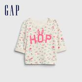 Gap嬰兒 棉質花卉印花上衣 543566-象牙白