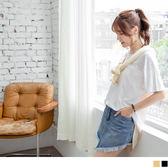 OrangeBear《AB4136》胸前口袋後背拼接配色直條紋竹節棉圓領長版上衣.2色