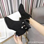 女靴子2019冬季新款絨面粗跟黑色中跟女鞋蕾絲邊短筒加絨保暖棉靴 漾美眉韓衣