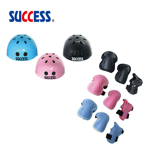 成功SUCCESS 可調式安全頭盔+三合一溜冰護具組 粉紅M