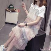 大尺碼洋裝2019新款短袖拼色網紗女裝連身裙中長款過膝蛋糕裙 DR25226【Rose中大尺碼】
