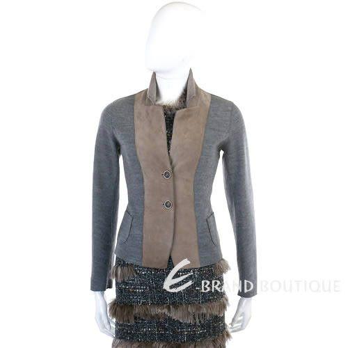 FABIANA FILIPPI 灰/咖色麂皮拼接毛料外套 1140116-06