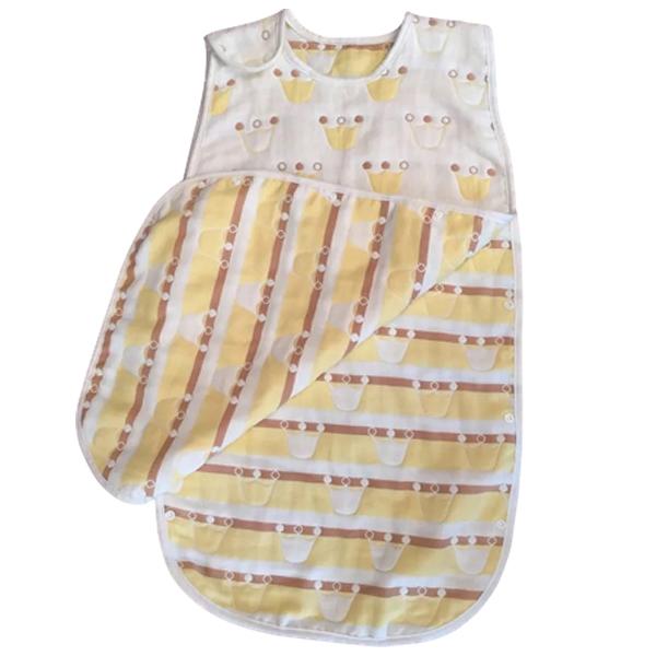 Mini Love 四層紗睡袋(1件入) 淺黃皇冠【小三美日】嬰兒專用