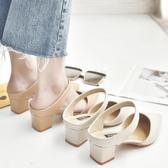 2019春夏季新款包頭涼鞋中跟尖頭簡約粗跟中空鞋后空半拖穆勒鞋女