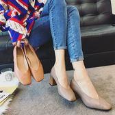 豆豆鞋 方頭復古奶奶鞋女2019春季新款高跟鞋正韓時尚淺口粗跟單鞋豆豆鞋【年中慶降價】