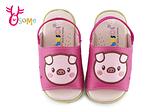 小豬寶寶涼拖鞋 小童 舒適軟墊 鬆緊帶 F5304#桃紅◆OSOME奧森鞋業