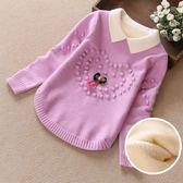 女童毛衣秋裝 新款洋氣套頭加絨加厚秋冬中大童兒童打底針織衫 薇薇