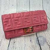 BRAND楓月 FENDI 芬迪 8M0251 BAGUETTE 粉色 羊皮材質 金色LOGO 長夾 錢包 錢夾