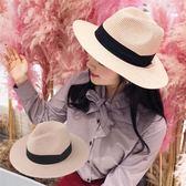 草帽女夏天休閒百搭正韓禮帽子遮陽帽可折疊沙灘帽度假防曬漁夫帽