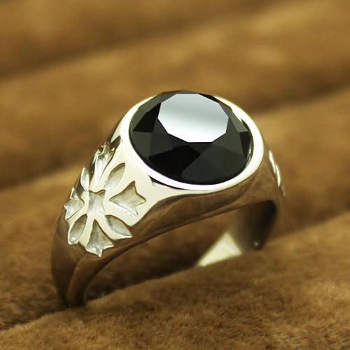 歐美復古鏤空雕花男士黑曜石戒指 鈦鋼霸氣指環手飾品
