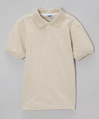 Nautica短袖上衣 基本款米色短袖Polo衫
