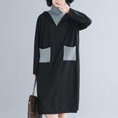 依多多 外套 秋冬高領長袖寬鬆顯瘦拼接拼色連身裙韓版長裙