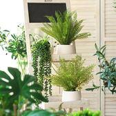 仿真綠植盆栽小擺件裝飾假草北歐家居餐桌擺設綠葉室內盆景植物  igo 卡布奇諾