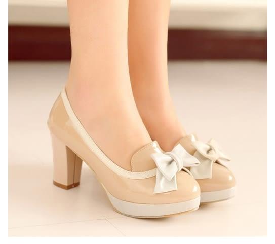 蝴蝶結高跟鞋粗跟單鞋女防水台圓頭女鞋子:xuel00349