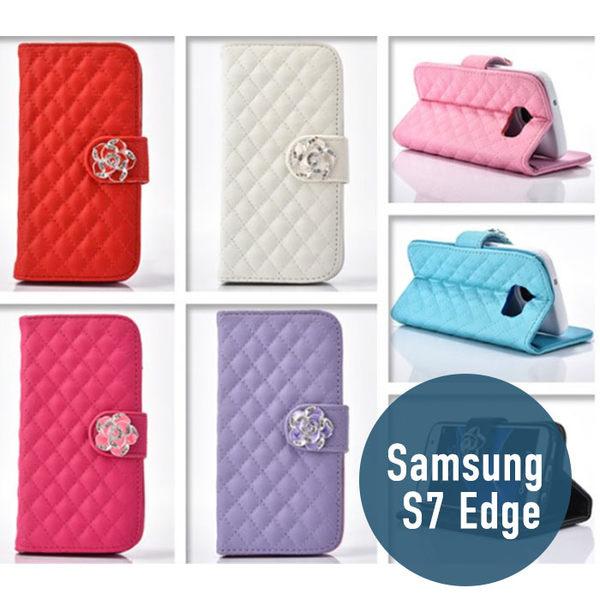SAMSUNG 三星 S7 Edge 小羊皮山茶花皮套 插卡 側翻 手機套 手機殼 保護套 配件