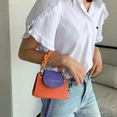 夏天撞色迷你小包包2021新款潮網紅洋氣側背百搭斜背包鍊條小方包 伊蘿