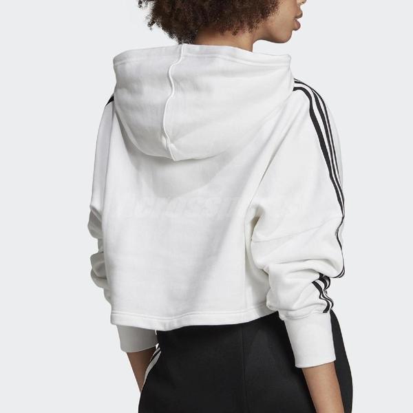 adidas 長袖T恤 Cropped Hoodie 白 黑 女款 帽T 運動休閒 【ACS】 ED7555