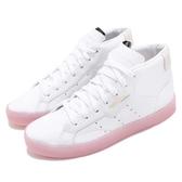 【四折特賣】adidas 休閒鞋 SLEEK Mid W 白 粉紅 果凍底 中筒 金標 女鞋 運動鞋【ACS】 EE8612