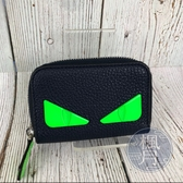 BRAND楓月 FENDI 芬迪 7M0257 深藍 綠眼怪獸 零錢包 卡夾 皮夾