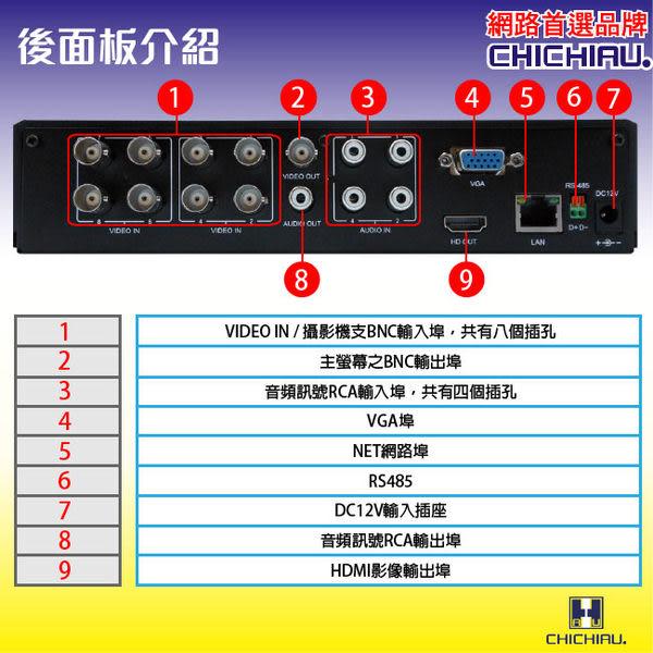 【CHICHIAU】8路 H.264 960H 高畫質智慧型遠端數位監控錄影機-DVR