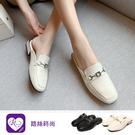 韓系簡約金屬裝飾方頭後空鞋/2色/35-...