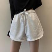 短褲 白色松緊高腰休閑短褲女2020夏季新款寬松不規則休閑家居闊腿褲子